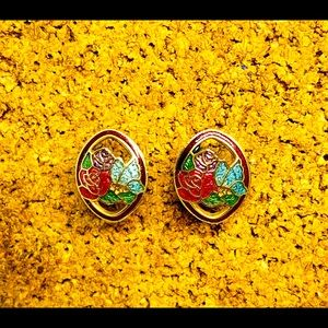 """Jewelry - Cloisonné Roses & Butterfly earrings 1/2"""""""